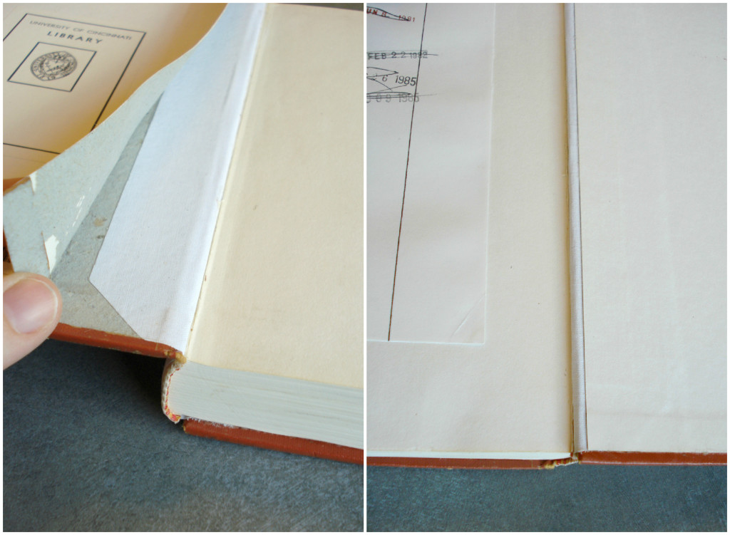 Left: The cloth hinge is adhered to the spine of the textblock and then the flap is adhered directly to the board, underneath the lifted pastedown. Right: When the pastedown is laid back down only a small portion of the hinge is visible.