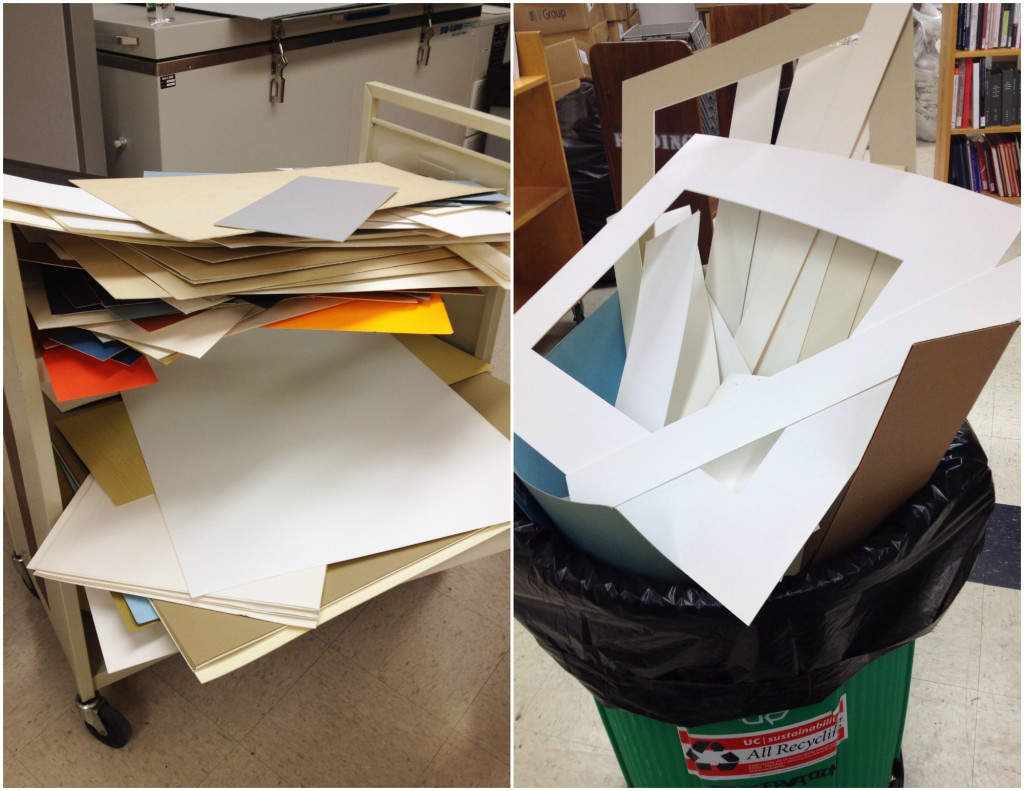 There was quite a bit of unusable, acidic board and scraps that were too irregular, damaged, or small for our use, those were all recycled.