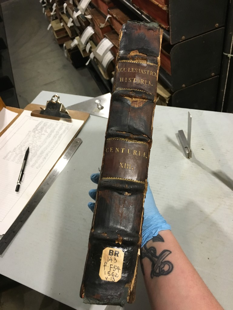 This full leather binding must have been fire damaged at some point. The leather on the spine was so fragile and would crack and break if you looked at it the wrong way.
