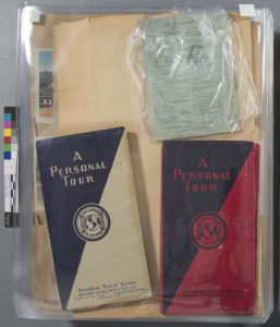 THE PRESERVATION LAB: A collaboration between the University of Cincinnati and the Public Library of Cincinnati and Hamilton County Object Institution & Library: PLCH CALL #: 977.178092 ffH966Zh 1938 SUBJECT: Althea Hurst scrapbook, 1938 - documents the journey of four Cincinnati school teachers - took a trip to Canada, Nortern Europe, Germany, Eastern Europe, and France. Scrapbook filled with photographs, brochures, notes and other ephemera. DATABASE ID: 1015 ITEM #: i83079427 TREATMENT ID: LIGHTING: EcoSmart 27-Watt (100W) Full Spectrum Craft CFL Fluorescent with sock diffusers FILTER(s): none COMMENTS: CREATOR: Jessica Ebert WEBSITE: thepreservationlab.org